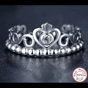 Princess Crown 925 Sterling Silver Stackable Ring